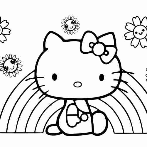 hello kitty con arcoiris para colorear