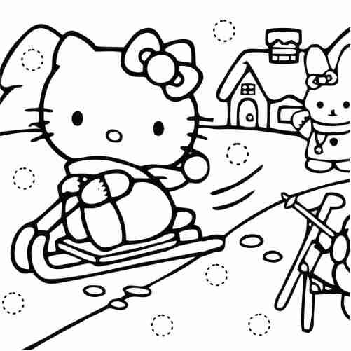 hello kitty kawaii navidad para colorear