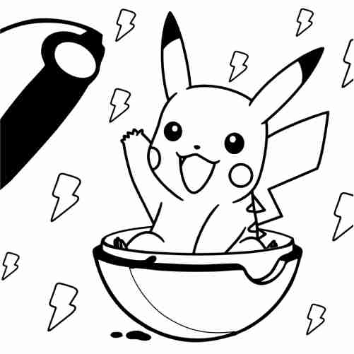 pikachu kawaii en pokebola para colorear