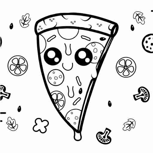 pizza kawaii para colorear