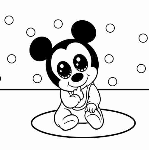 mickey bebe kawaii para colorear