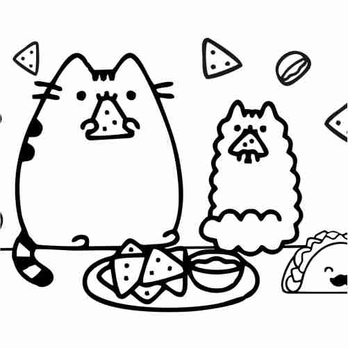 pusheen comiendo tacos kawaii para colorear