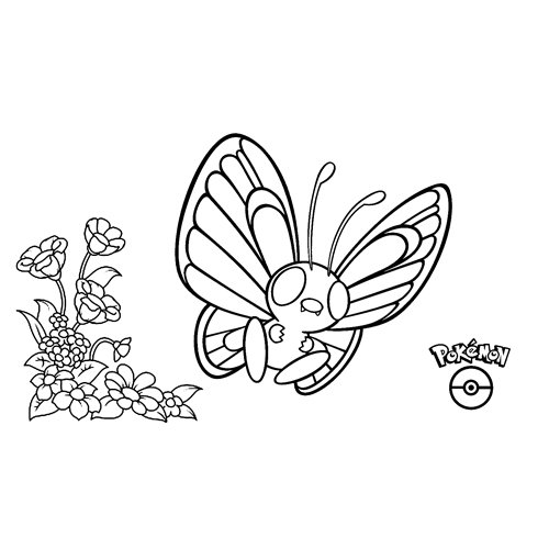 kawaii pokemon butterfree para colorear online