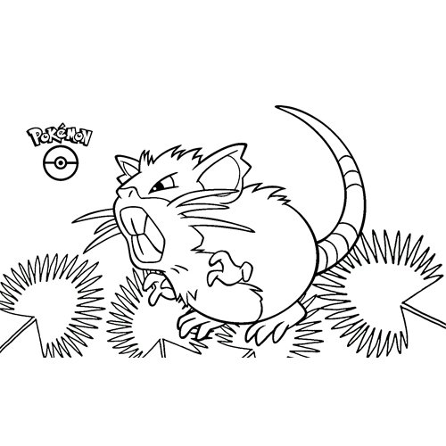 kawaii raticate pokemon para colorear
