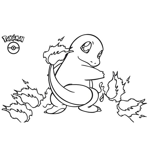 kawaii charmander pokemon para colorear