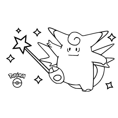kawaii clefable para colorear y descargar