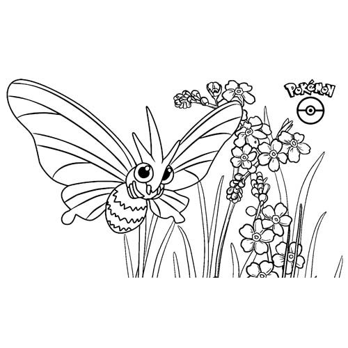 adorable kawaii Venomoth pokemon para colorear