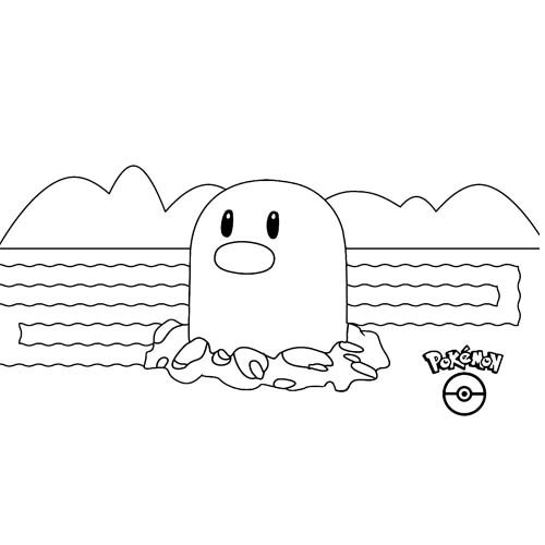 kawaii diglett pokemon para colorear y descargar
