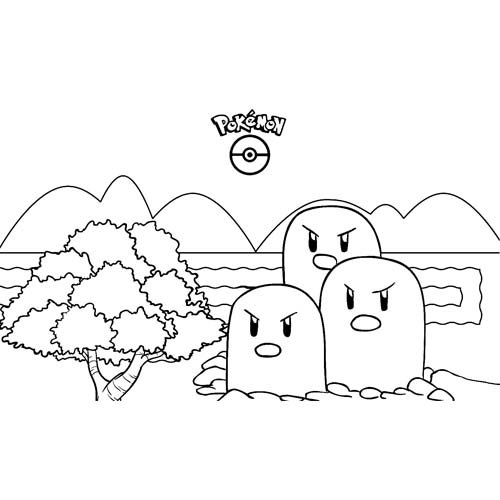 lindos dugtrio kawaii pokemon para colorear y descargar