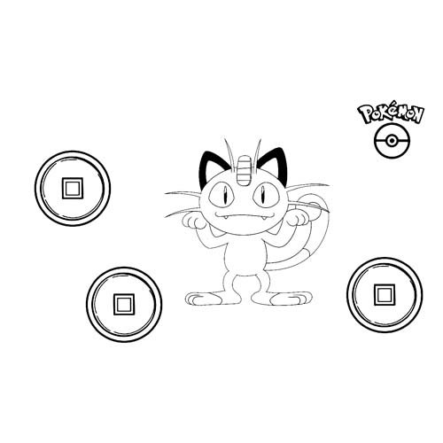 kawaii meowth pokemon para colorear online