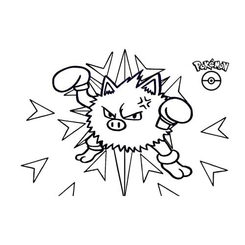 pokemon kawaii primeape para colorear y descargar