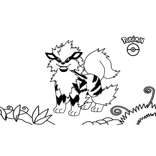 kawaii arcanine para coloreary descargar