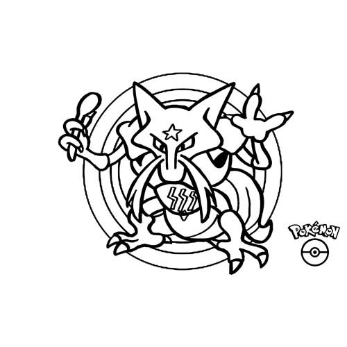 kawaii kadabra pokemon para colorear