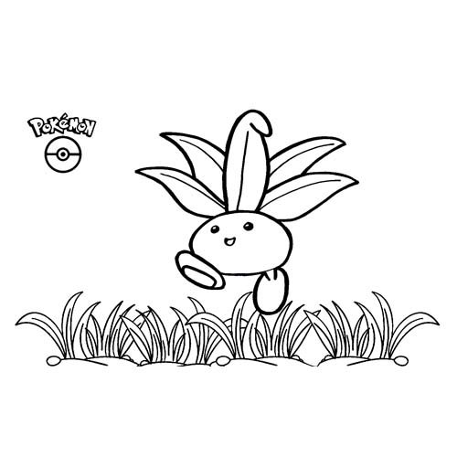 lindo oddish kawaii para colorear y descargar