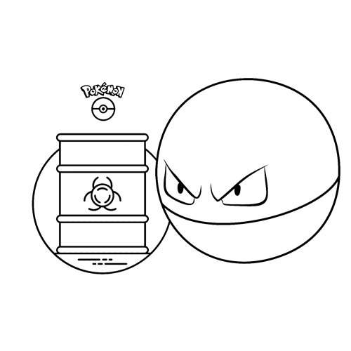 kawaii Voltorb pokemon para colorear y descargar