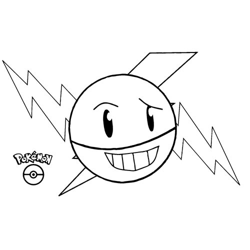 kawaii electrode pokemon para colorear