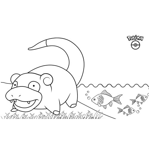 lindo slowpoke kawaii para colorear y descargar