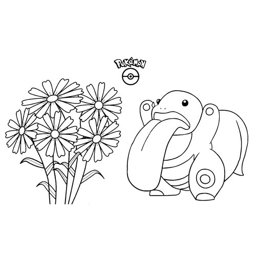 divertido lickitung kawaii pokemon para colorear y descargar