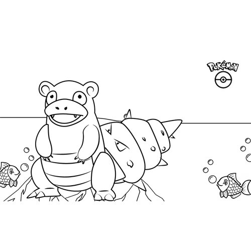 kawaii slowbro pokemon para colorear y descargar