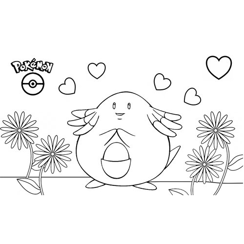 lindo chansey kawaii pokemon para colorear y descargar