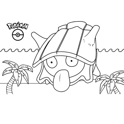 divertido shellder kawaii pokemon para colorear online
