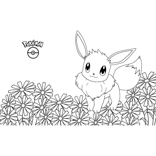super lindo eevee kawaii pokemon para colorear y descargar