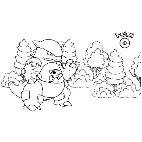 fuerte kawaii kangaskhan pokemon para colorear online