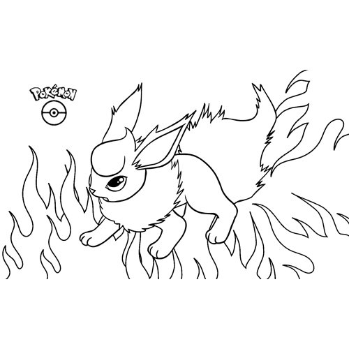 super kawaii flareon pokemon para colorear online