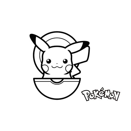 kawaii pikachu en su pokebola para colorear online