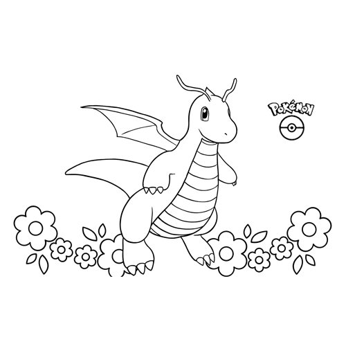 lindo kawaii dragonite pokemon para colorear